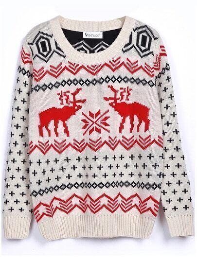 Suéter estampada ciervo-blanco