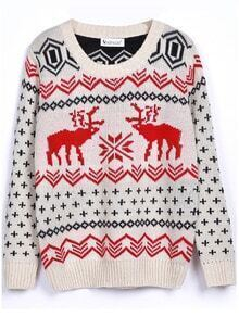 Beige Long Sleeve Deer Print Christmas Xmas Warm Nicest Loose Pullovers Sweater