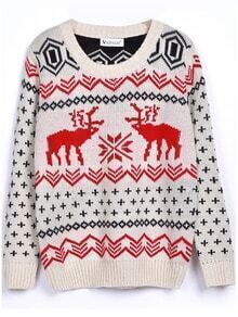 Beige Long Sleeve Deer Print Christmas Xmas Warm Nicest Loose Pullovers Sweater -SheIn(Sheinside)