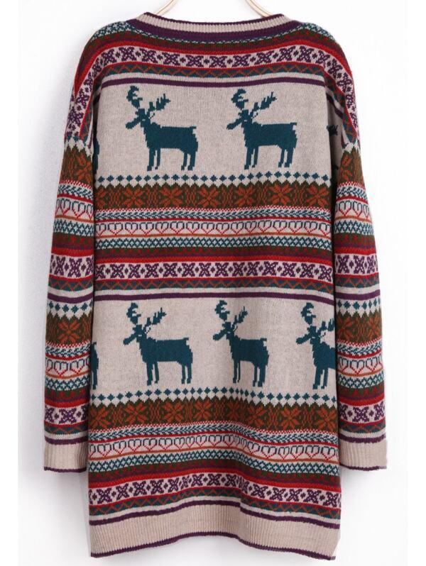Light Khaki Deer Fair Isle Christmas Xmas Warm Nicest Pattern ...