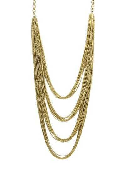 Gold Long Tassel Chain Necklace