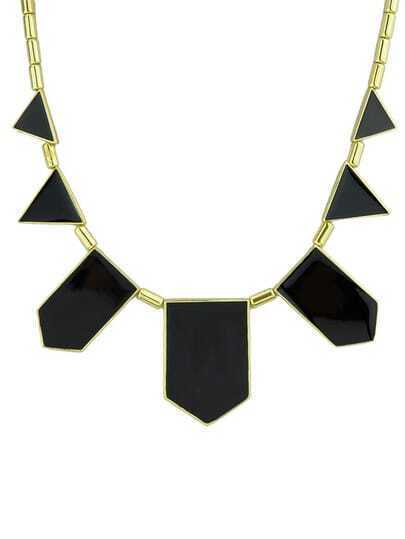 Black Geometric Monogram Necklace