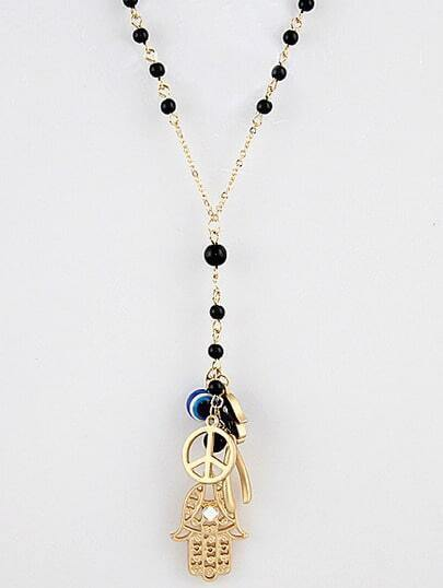 Bead Hand Evil Eye Peace Multielement Antique Necklace