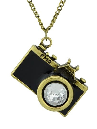 Black Camera Pendant Necklace