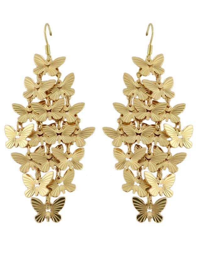 Gold Butterfly Drop Earring