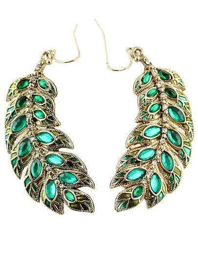 Elegant Leaf Crystal Design Alloy Drop Earring