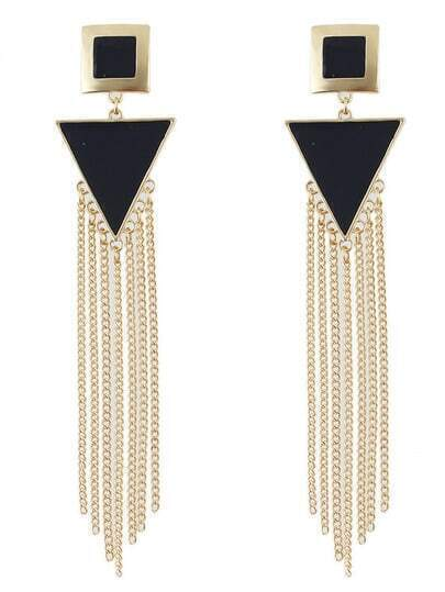 Black Long Tassels Drop Earrings