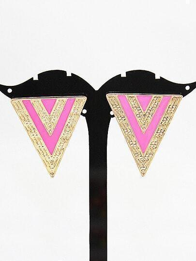 Fashion Jewelry Pink Triangle Enamel Alloy Earring