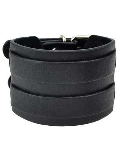 Black PU Leather Bangle Bracelets