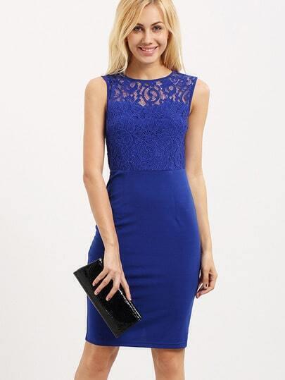 Blue Sleeveless Cut Out Back Sheath Dress