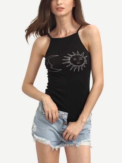 Sun Moon Print Cami Bodysuit