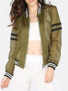 Army Green Zipper Striped Hem Jacket