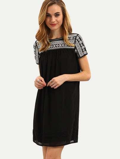 Black Short Sleeve Embroied Shift Dress