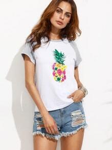 Colorblock Print Short Sleeve T-shirt