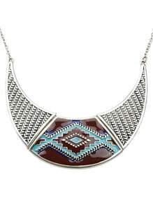 Retro Silver Geometric Pattern Collar Necklace