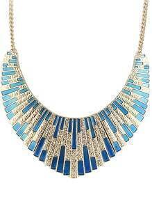 Blue Shining Bib Collar Necklace
