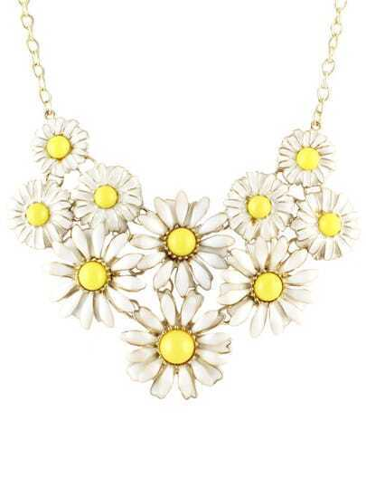 Yellow Gemstone Daisy Chain Necklace