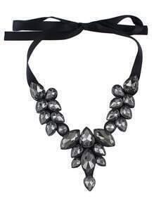 Black Drop Gemstone Necklace