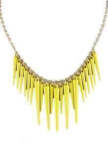 Exaggerate Yellow Plated Spike Necklace