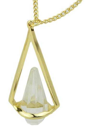 White Gemstone Triangle Gold Necklace