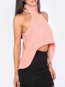 Pink Sleeveless Dip Hem Blouse