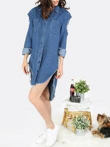 Cutout Sleeve Frayed Dip Hem Denim Dress