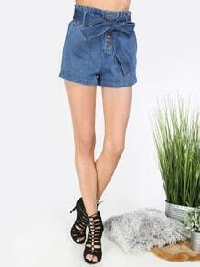 Blue Tie Waist Button Shorts