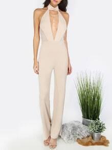 Apricot Halter Cutout Backless Jumpsuit