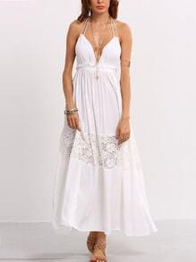 Deep V-Neck Lace Insert Long Dress - White
