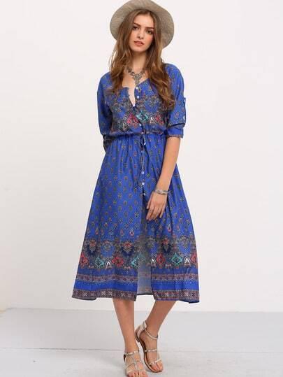 Blue Adjustable Sleeve And Waist Boho Dress