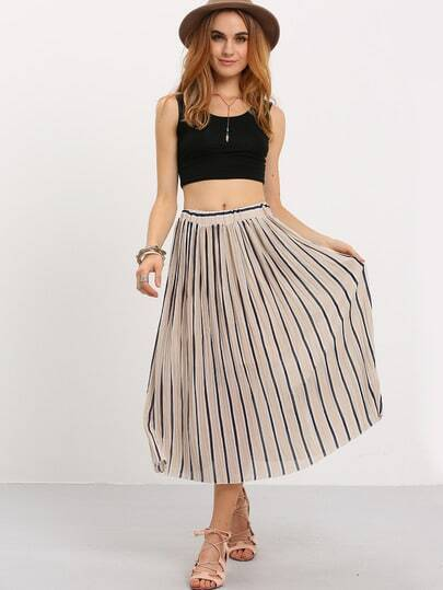 Vertical Striped Pleated Chiffon Skirt - Apricot