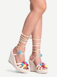 Pom Pom Trimmed Lace-Up Espadrille Sandals - Beige