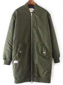 Army Green Rib-knit Cuff Pockets Jacket
