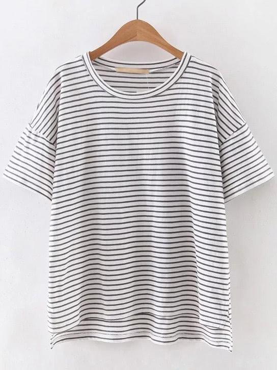 Фото Grey And White Mixed Stripe High Low T-shirt. Купить с доставкой