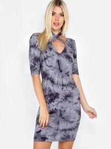 Acid Wash Scoop Back Dress BLACK