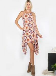 Geometric Inspired Tribal Dress RUST