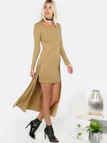 Long Open Front Top Mini Dress CAMEL