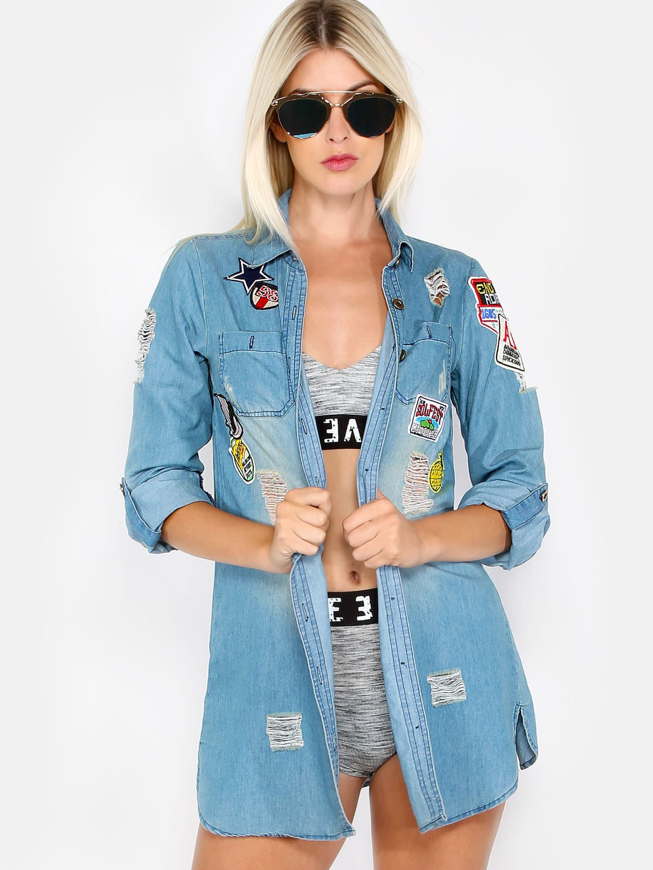 Image of Distressed Patches Button Up Jacket DENIM