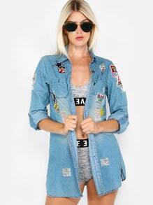 Distressed Patches Button Up Jacket DENIM