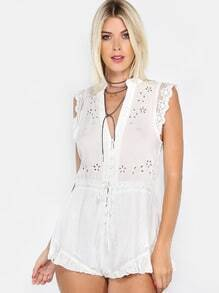 Deep V Crochet Romper OFF WHITE