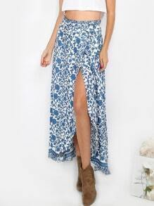 Floral Wrap Maxi Skirt BLUE MULTI