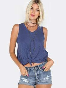 Distressed Front Knot Crop Tank Top BLUE