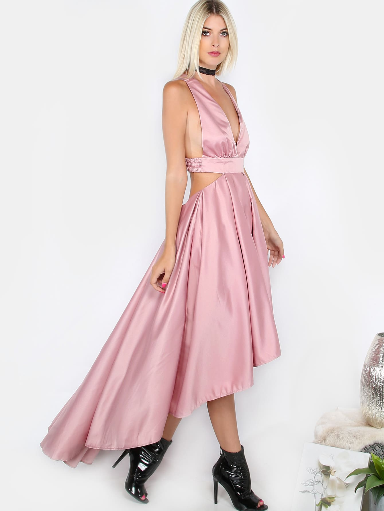 Hi Lo Tea Length Satin Dress Dusty Rose Shein Sheinside