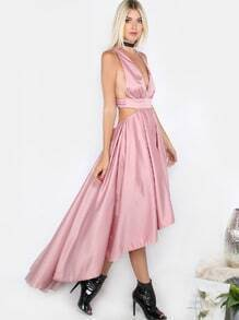 Hi-Lo Tea Length Satin Dress DUSTY ROSE