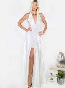 Satin Open Front Halter Dress IVORY