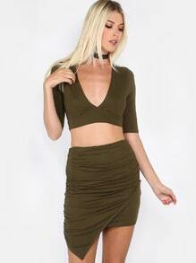 Wrap Top Ruched Skirt Matching Set OLIVE