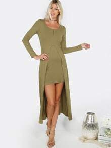 Long Sleeve Front Slit Dress OLIVE