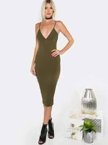 Deep V Bodycon Midi Dress OLIVE