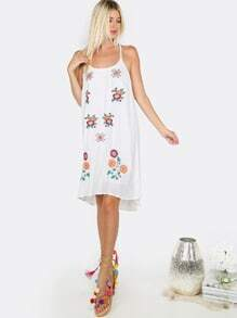 Floral Embroidered Shift Dress WHITE