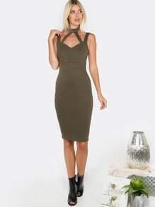 Sleeveless Cut Out Midi Dress OLIVE
